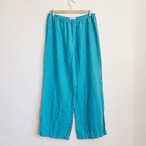 blue elastic waist 100% linen wide leg trousers